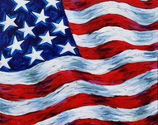 Galina Victoria; Usa Flag, 2019, Original Giclee Reproduction, 20 x 16 inches. Artwork description: 241 This artwork is a giclee on wrapped canvas 16x20x1. 5 inches, ready to be proudly put on your wall with and attachment on the back.  Great bright original piece, conveying patriotic spirit, expressive, dynamic, in true colors. ...