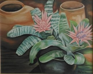 Eliana Molnar; Pink Bromeliad, 2010, Original Painting Other, 50 x 40 cm. Artwork description: 241 Observing the vases I noticed this wonderful creation of nature with its two- tone leaves and delicate rose from the petals of bromelia. This canvas is painted with natural earth paint...