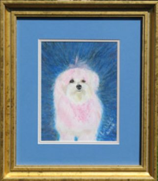 Lauren Allee; In The Pink, 2006, Original Pastel Oil, 16 x 19 inches. Artwork description: 241 Hand- painted portrait of pink- tinted, mixed breed dog.  Oil pasted on paper behind double mats, under glass in a gold leaf frame. ...