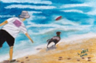 Lauren Allee; Playing Fetch At Dog Beach, 2007, Original Pastel Oil, 19 x 16 inches. Artwork description: 241  A man and his dog play a game of fetch at Dog Beach in Southern California.  Oil Pastel on heavy weight, acid free paper. ...