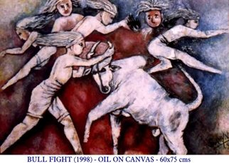 V V Swamy; BULL FIGHT, 2000, Original Painting Oil, 32 x 24 inches. Artwork description: 241  Bull fight is a popular game played world over espicially in Spain. In India in Tamilnadu it is played as 'Jallikattu' ...