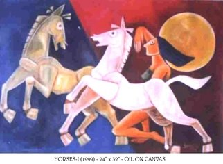 V V Swamy; HORSES, 2000, Original Painting Oil, 32 x 24 inches.