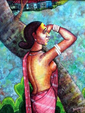 V V Swamy; In Search, 2000, Original Painting Acrylic, 16 x 20 inches. Artwork description: 241  a village lady is looking for her lover. ...