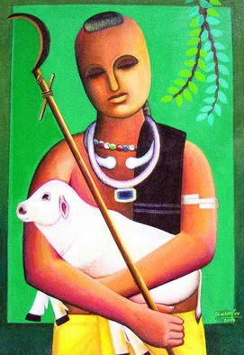 V V Swamy; Shepard, 2006, Original Painting Acrylic, 18 x 24 inches. Artwork description: 241  Shepard is a animel manipulator in rural villages ...