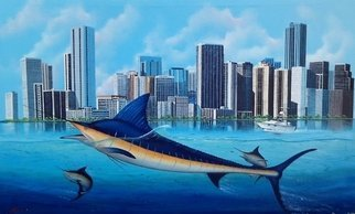 Gary Boswell; Miami Marlins, 2018, Original Painting Acrylic, 48 x 30 inches. Artwork description: 241 Marlins swimming below the Miami skyline, I ve painted in acrylic, on a large 48x 30stretched, gallery wrapped canvas.Painted on all sides, framed not needed...