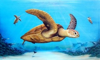 Gary Boswell; Sea Turtles Over Reef, 2019, Original Painting Acrylic, 49 x 29 inches. Artwork description: 241 Sea Turtles over Reef inspired by diving off the Florida coast. ...