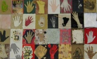 Marybeth Drake; 32 Hands, 1999, Original Assemblage, 72 x 48 inches. Artwork description: 241 32 variations of hands. My goal is 100.These hang in my elementary school classroom near Buena Vista, Virginia. ...