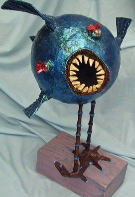 Marybeth Drake; Crunchbird, 2007, Original Assemblage, 16 x 23 inches. Artwork description: 241  Meet the Crunchbird! He's a wacky, scary but cute fishy looking bird critter sculpture with dangerous teeth!He is firmly mounted on a 10