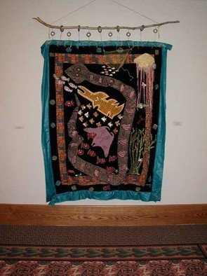 Marybeth Drake; Vieques Unquilt, 2004, Original Mixed Media, 60 x 72 inches. Artwork description: 241  Mixed fabric, mixed media appliqued and layered hanging. ...