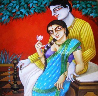 Gautam Mukherjee; Charulaata with Amal, 2016, Original Painting Acrylic, 22 x 22 inches. Artwork description: 241  0140 couple ...