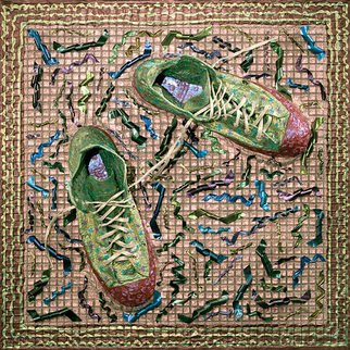 Paul Gazda; All Star Shoes, 2008, Original Mixed Media, 24 x 24 inches. Artwork description: 241   Shoes, Acrylic, Recording Tape on Wire Mesh  ...