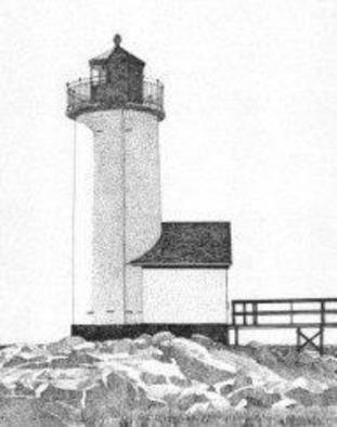 Glen Braden; Annisquam Harbor Light House, 2003, Original Drawing Pen, 10 x 13 inches. Artwork description: 241 Lighthouse located at Annisquam Harbour in Massachusetts. Original sold but framed double- matted prints are available. ...