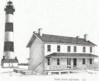 Glen Braden; Bodie Island Lighthouse, 2001, Original Drawing Pen, 13 x 10 inches. Artwork description: 241 Bodie Island Lighthouse located on the Outerbanks in North Carolina. The original is sold but framed double- matted prints are available. ...