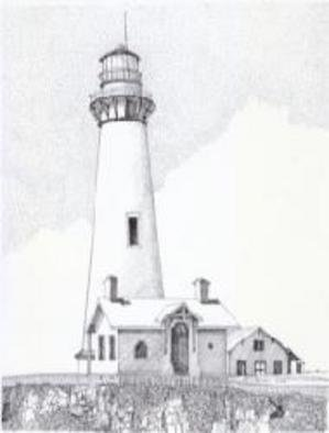 Glen Braden; Pigeon Point Light House, 2003, Original Drawing Pen, 10 x 13 inches. Artwork description: 241 Pigeon Point Lighthouse- Comissioned for Christmas. Framed, double matted Prints are available....