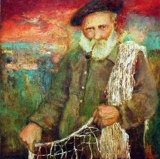 George Baratashvili; Old Fisherman, 2008, Original Painting Oil, 90 x 90 cm.