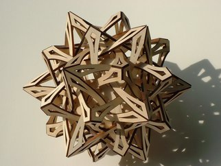 George Hart; Compass Points, 2003, Original Sculpture Wood, 14 x 14 inches. Artwork description: 241  It is hard to convey the sense of motion which this sculpture creates as it bursts out in all directions. Compass Points is a 14- inch diameter one- of- a- kind sculpture assembled from identical pieces of laser- cut wood ( solid aspen) . From a distance, it is ...