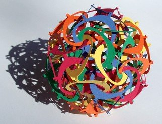 George Hart; Eights, 2007, Original Sculpture Other, 6 x 6 inches. Artwork description: 241  This six- inch diameter paper sculpture is made of sixty identically shaped parts. Parts of any one color form a type of tetrahedron, and there are five such, deeply interlocked. No glue or other adhesive is used; the parts just hook into each other. I call this ...