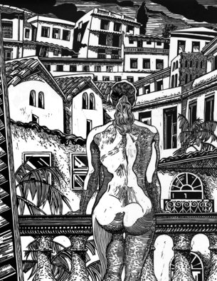 Geo Sipp; A Woman On A Balcony In A..., 2013, Original Printmaking Woodcut, 20 x 27 inches. Artwork description: 241  A woodcut depicting a nude woman in a city environment. ...
