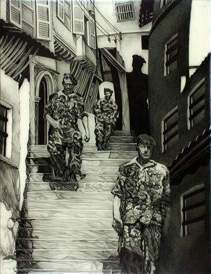 Geo Sipp; Soldiers In The Casbah, 2015, Original Drawing Other, 13.5 x 18 inches. Artwork description: 241     Image depicts a firefight in Algeria            ...