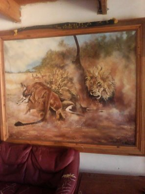 Gerald De Jongh; Lion Kill, 1990, Original Painting Acrylic, 18 x 14 cm. Artwork description: 241 This incredible painting in acrylic  on canvas by S de Jongh depicts lions killing a springbok in the Kruger National Park. ...
