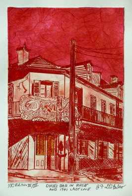 Jerry  Di Falco, DIXIES BAR IN ROSE AND 1941..., 2016, Original Printmaking Etching, size_width{DIXIES_BAR_IN_ROSE_AND_1941_LADY_LOVE-1472480826.jpg} X 16 x  inches