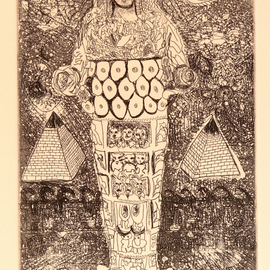 Jerry  Di Falco, , , Original Printmaking Etching, size_width{Goddess_of_the_Moon-1534264455.jpg} X 15 inches