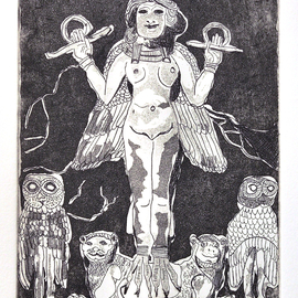 Jerry  Di Falco, , , Original Printmaking Etching, size_width{Queen_of_the_Night-1533223790.jpg} X 15 inches