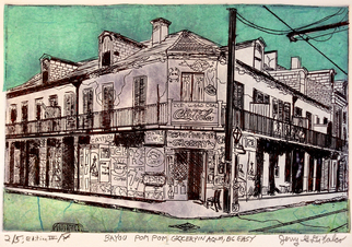 Jerry  Di Falco, The Big Easy and Bayou Pom ..., 2015, Original Printmaking Etching, size_width{The_Big_Easy_and_Bayou_Pom_Pom_Grocery_in_Aqua-1472480867.jpg} X 12 x  inches