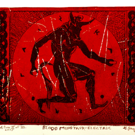 Jerry  Di Falco, , , Original Printmaking Etching, size_width{The_Electric_Blood_Minotaur-1530456791.jpg} X 10 inches