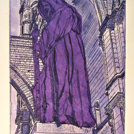 Jerry  Di Falco, , , Original Printmaking Etching, size_width{The_Purple_Monk_of_Palermo-1532875139.jpg} X 15 inches
