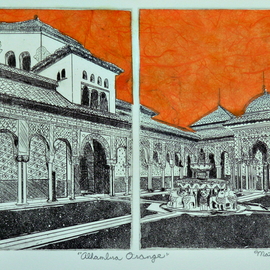 Jerry  Di Falco, , , Original Printmaking Etching, size_width{alhambra_orange-1553278867.jpg} X 17 inches