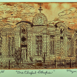 Jerry  Di Falco, , , Original Printmaking Etching, size_width{arc_chapel_in_ethiopia-1548617202.jpg} X 9 inches