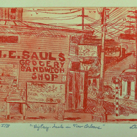 Jerry  Di Falco, , , Original Printmaking Etching, size_width{big_easy-1553279460.jpg} X 11 inches