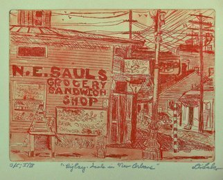 Jerry  Di Falco, 'Big Easy', 2019, original Printmaking Etching, 14 x 11  x 1 inches. Artwork description: 1911 Full Title isBIG EASY, SAULS IN NEW ORLEANS.  This zinc plate etchingintaglio, aquatint, and drypointrequired three separate Nitric acid baths and plate workings.  The image size, the the size of the etching plate, is six inches high by eight inches wide.  The frame is 11 by 14 ...