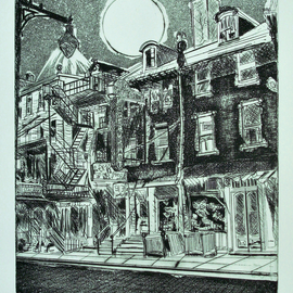 Jerry  Di Falco, , , Original Printmaking Etching, size_width{chinatown_1948-1563741690.jpg} X 28 inches