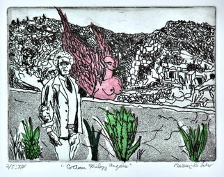 Jerry  Di Falco, 'Cocteau Trilogy Angelic', 2019, original Printmaking Etching, 16 x 12  inches. Artwork description: 1911 The artist incorporated the studio techniques of Chine Colle, Drypoint, Intaglio, and Aquatint in this etching.  Its media includes oil base etching ink, RivesBFK white paper, and mulberry bark paper from Thailand that was treated with methylcellulose and infused with kozo threads from Japan.  The work was ...