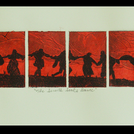 Jerry  Di Falco, , , Original Printmaking Etching, size_width{dance_from_the_seventh_seal-1546714974.jpg} X 10 inches
