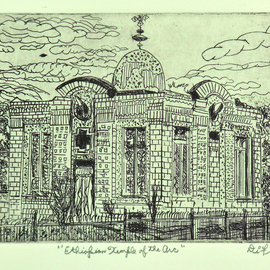 Jerry  Di Falco, , , Original Printmaking Etching, size_width{ethiopian_chapel_of_the_arc-1550341945.jpg} X 10 inches