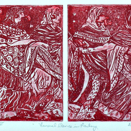Jerry  Di Falco, , , Original Printmaking Etching, size_width{funeral_dance_in_rasberry-1559580877.jpg} X 13 inches