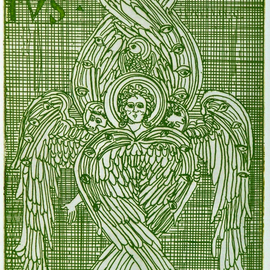 Jerry  Di Falco, , , Original Printmaking Etching, size_width{i_am_seraph_green-1553278284.jpg} X 17 inches
