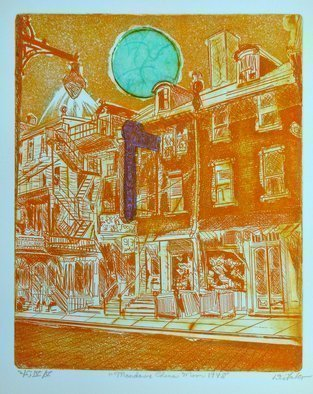 Jerry  Di Falco; Mandarin Orange Moon, 2019, Original Printmaking Etching, 16 x 20 inches. Artwork description: 241 ABOUT THE ARTISTaEURtmS ETCHINGS:  DiFalco first creates a number of original drawings, which are usually based upon the narrative and documentation- centric images, which he discovers through his research into the photographic and digital archives of universities, libraries, governments, and historical societies.  Herein now, the artist ...