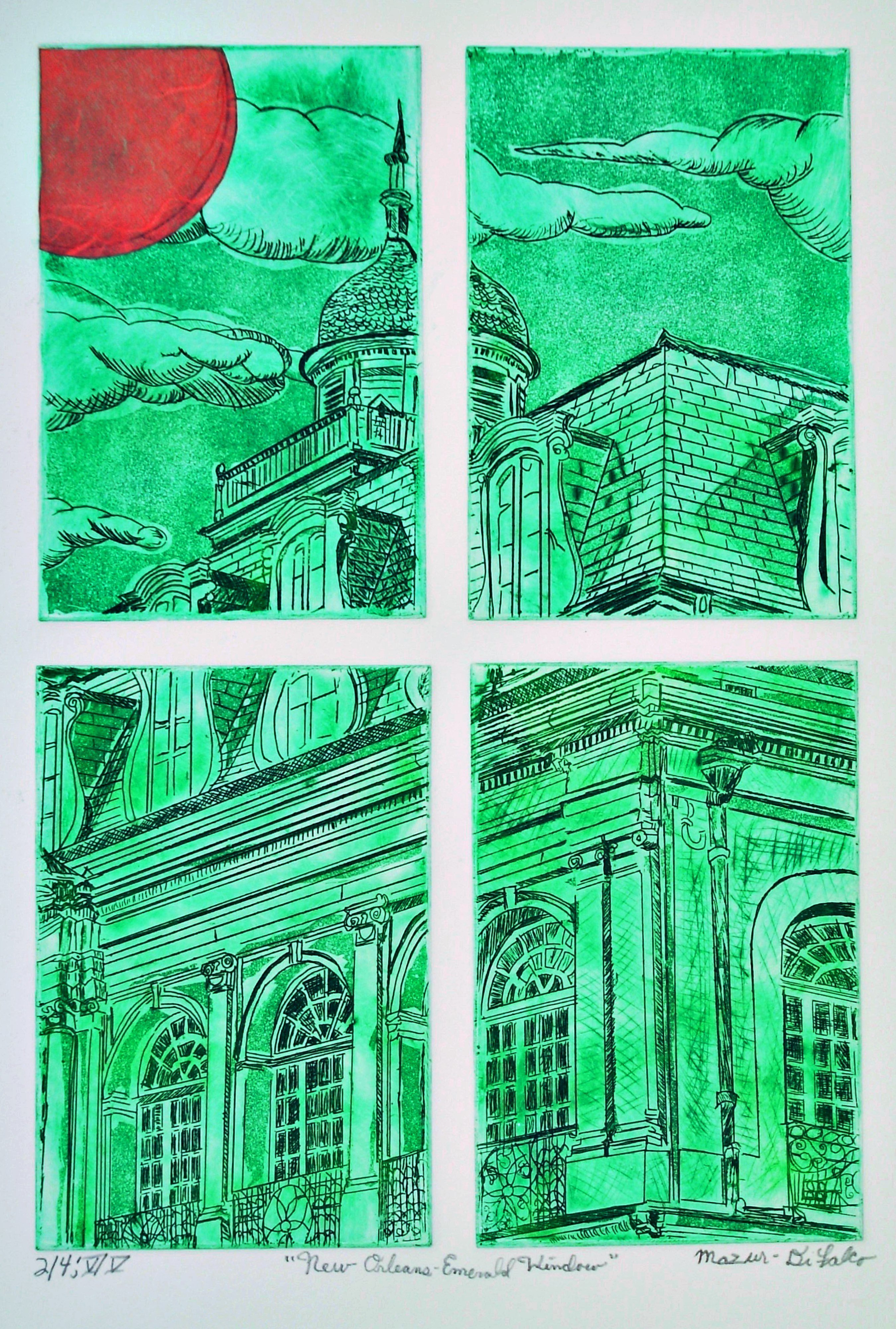 Jerry  Di Falco, 'New Orleans Emerald Window', 2019, original Printmaking Intaglio, 18 x 24  inches. Artwork description: 1911 Jerry Mazur- DiFalco created this distinctive etching via the employment of four separate zinc plates, which were placed simultaneously on the printing press bedaEUR