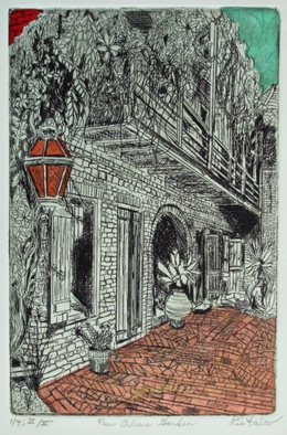 Jerry  Di Falco, New orleans garden, 2016, Original Printmaking Etching, size_width{new_orleans_garden-1480799442.jpg} X 14 x  inches