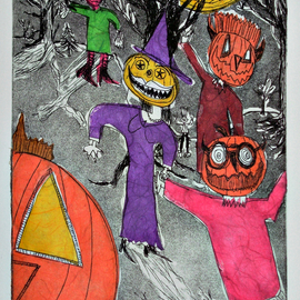 Jerry  Di Falco, , , Original Printmaking Etching, size_width{night_of_pumpkin_ghosts-1546716676.jpg} X 20 inches