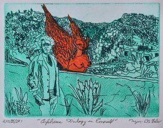 Jerry  Di Falco, 'Orpheus Trilogy In Emerald', 2019, original Printmaking Etching, 14 x 11  inches. Artwork description: 1911 The studio techniques of Chine Colle, Drypoint, Intaglio, and Aquatint were employed in this etching.  DiFalco used the media of oil base etching ink from Paris, RivesBFK white paper, and mulberry bark paper from Thailand that was treated with methyl cellulose and infused with kozo threads from ...