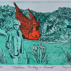 Jerry  Di Falco, , , Original Printmaking Etching, size_width{orpheus_trilogy_in_emerald-1559580360.jpg} X 11 inches