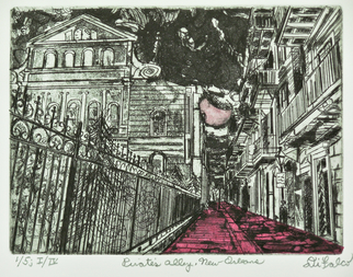 Jerry  Di Falco, Pirates alley in new orlean..., 2017, Original Printmaking Intaglio, size_width{pirates_alley_in_new_orleans-1495991805.jpg} X 11 x  inches