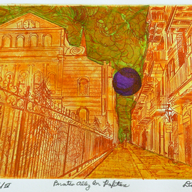 Jerry  Di Falco, , , Original Printmaking Other, size_width{pirates_alley_in_rapture-1544721351.jpg} X 11 inches