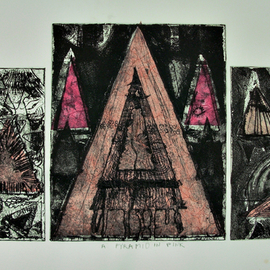Jerry  Di Falco, , , Original Printmaking Etching, size_width{pyramid_in_pink-1546715619.jpg} X 14 inches