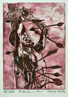 Jerry  Di Falco, 'Saint Sebastian In Rose', 2019, original Printmaking Etching, 12 x 16  x 1 inches. Artwork description: 1911 Saint Sebastian is one of the most portrayed saints.  This etching, based on three of my original drawings- - all which were adapted from a publicity photo from a 1976 British film entitled, aEURoeSebastianiaEUR, shows the saint during his supposed execution.  The media include an original blend of ...
